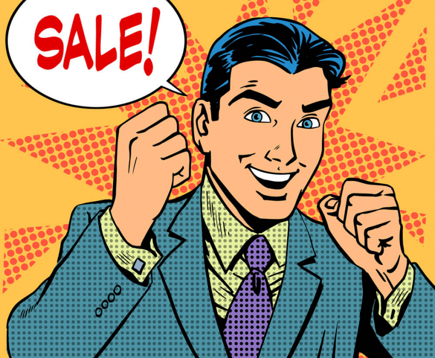 animated man excited about sale